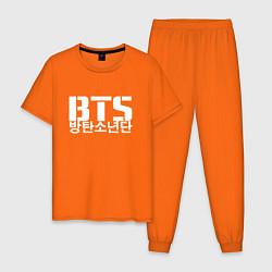 Пижама хлопковая мужская BTS Hieroglyphs цвета оранжевый — фото 1