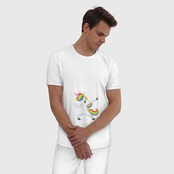 Пижама хлопковая мужская Keep Calm & Dab Unicorn цвета белый — фото 2