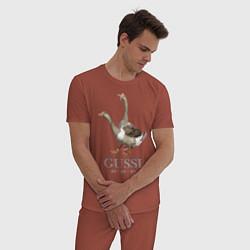 Пижама хлопковая мужская Гуси цвета кирпичный — фото 2