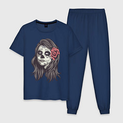 Пижама хлопковая мужская Mexican Girl цвета тёмно-синий — фото 1