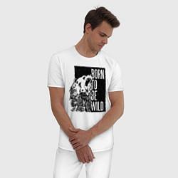 Пижама хлопковая мужская Born to be Wild цвета белый — фото 2