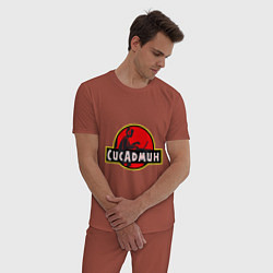 Пижама хлопковая мужская Парк Сисадмина цвета кирпичный — фото 2