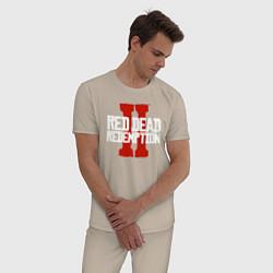 Пижама хлопковая мужская RDR II цвета миндальный — фото 2