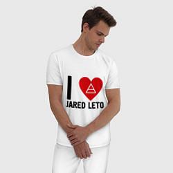 Пижама хлопковая мужская I love Jared Leto цвета белый — фото 2