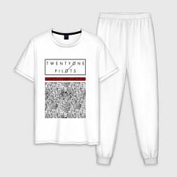 Пижама хлопковая мужская TOP: Blurryface цвета белый — фото 1
