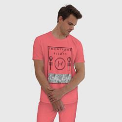Пижама хлопковая мужская 21 Pilots: Blurryface цвета коралловый — фото 2