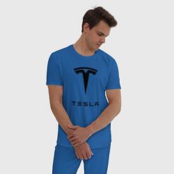 Пижама хлопковая мужская TESLA Mobile цвета синий — фото 2