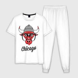 Пижама хлопковая мужская Chicago SWAG цвета белый — фото 1
