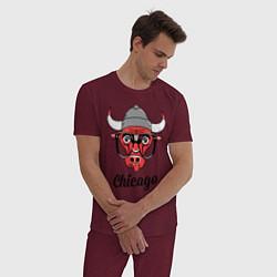 Пижама хлопковая мужская Chicago SWAG цвета меланж-бордовый — фото 2
