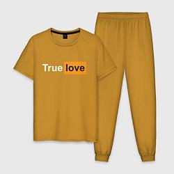 Пижама хлопковая мужская True Love цвета горчичный — фото 1