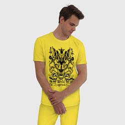 Пижама хлопковая мужская Дикая Лиса цвета желтый — фото 2