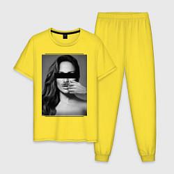 Пижама хлопковая мужская Усы Дженнифер Лопес цвета желтый — фото 1