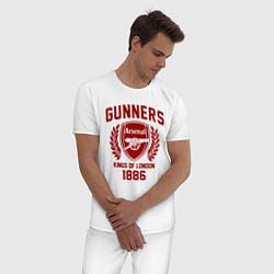 Пижама хлопковая мужская Arsenal: Kings of London цвета белый — фото 2