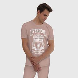 Пижама хлопковая мужская Liverpool: Est 1892 цвета пыльно-розовый — фото 2