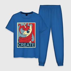 Пижама хлопковая мужская MLP: Create цвета синий — фото 1