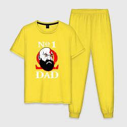 Пижама хлопковая мужская Dad Kratos цвета желтый — фото 1