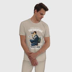 Пижама хлопковая мужская Фотограф цвета миндальный — фото 2