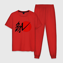 Пижама хлопковая мужская Литл Гавана цвета красный — фото 1