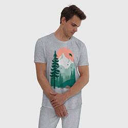Пижама хлопковая мужская Wild Adventure цвета меланж — фото 2
