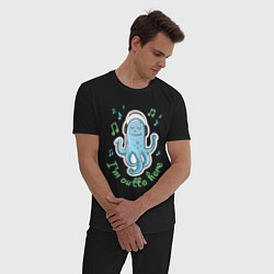 Пижама хлопковая мужская Довольный осьминог цвета черный — фото 2