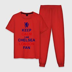 Пижама хлопковая мужская Keep Calm & Chelsea London fan цвета красный — фото 1