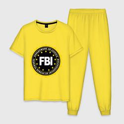 Пижама хлопковая мужская FBI Departament цвета желтый — фото 1