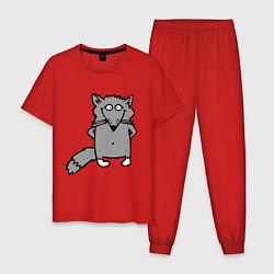 Пижама хлопковая мужская Хитрый лис цвета красный — фото 1