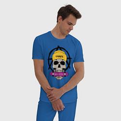 Пижама хлопковая мужская Skate or Die цвета синий — фото 2