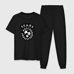 Пижама хлопковая мужская STARS RACCOON CITY цвета черный — фото 1