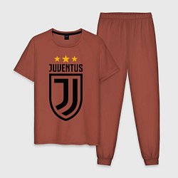 Пижама хлопковая мужская Ювентус цвета кирпичный — фото 1