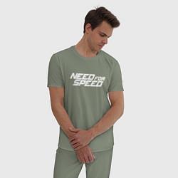 Пижама хлопковая мужская Need for Speed цвета авокадо — фото 2