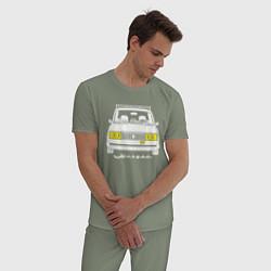 Пижама хлопковая мужская Жигули 2105 цвета авокадо — фото 2