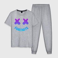 Пижама хлопковая мужская FORTNITE x MARSHMELLO цвета меланж — фото 1