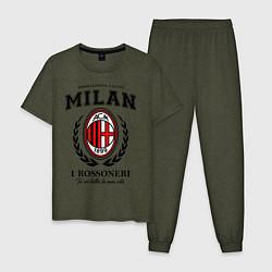 Пижама хлопковая мужская Milan: I Rossoneri цвета меланж-хаки — фото 1