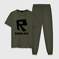 Пижама хлопковая мужская ROBLOX цвета меланж-хаки — фото 1