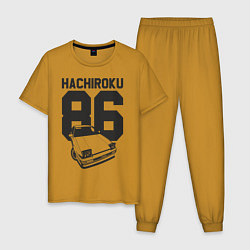 Пижама хлопковая мужская Toyota AE86 Hachiroku цвета горчичный — фото 1