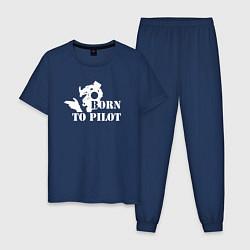 Пижама хлопковая мужская Born to pilot цвета тёмно-синий — фото 1