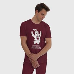 Пижама хлопковая мужская Praise the Sun цвета меланж-бордовый — фото 2