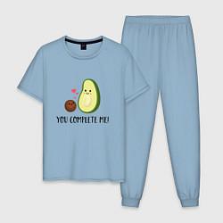 Пижама хлопковая мужская You Complete Me! цвета мягкое небо — фото 1