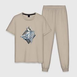 Пижама хлопковая мужская Space Wolves цвета миндальный — фото 1