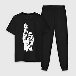 Пижама хлопковая мужская Cross fingers цвета черный — фото 1