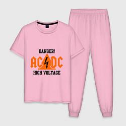 Пижама хлопковая мужская AC/DC: High Voltage цвета светло-розовый — фото 1