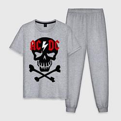 Пижама хлопковая мужская AC/DC Skull цвета меланж — фото 1