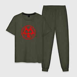 Пижама хлопковая мужская Metro: Sparta Warriors цвета меланж-хаки — фото 1