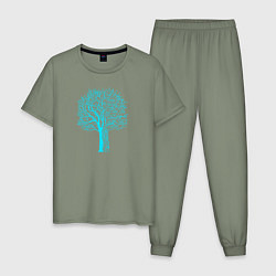 Пижама хлопковая мужская Cyberpunk 2077: Blue Tree цвета авокадо — фото 1