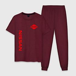 Пижама хлопковая мужская NISSAN цвета меланж-бордовый — фото 1