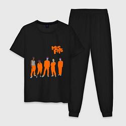 Пижама хлопковая мужская Misfits Orange цвета черный — фото 1