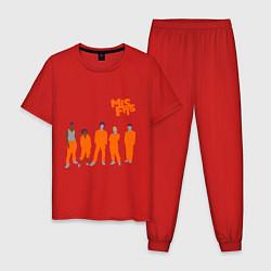 Пижама хлопковая мужская Misfits Orange цвета красный — фото 1