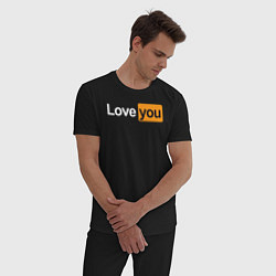 Пижама хлопковая мужская PornHub: Love You цвета черный — фото 2