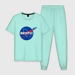 Пижама хлопковая мужская NASA Delorean 88 mph цвета мятный — фото 1